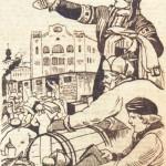 """Рисунок М. М. Щеглова в газете """"Красное знамя"""" от 19.10.1943 года."""