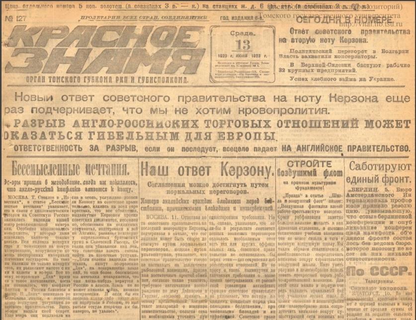 Статистические сведения 1923 г. о населении городов Томской губернии