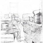 Комната, оборудованная под жилое помещение в Научной библиотеке ТГУ. Рисунок М. П. Крошицкого. 1943 г. Цифровая копия любезно предоставлена отделом редких книг НБ ТГУ.