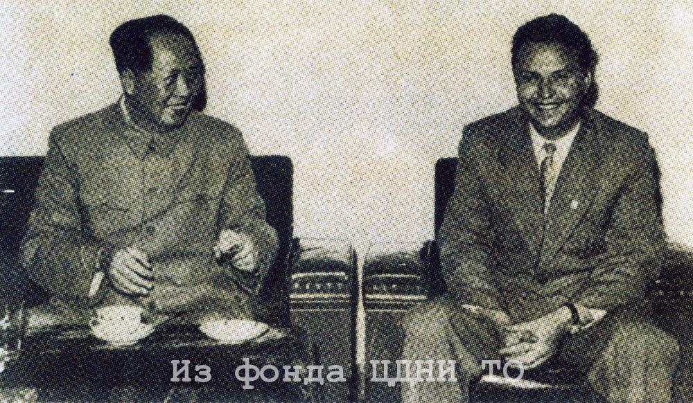 Е. К. Лигачев на беседе у Мао Цзэдуна. Пекин. Октябрь 1957 г.