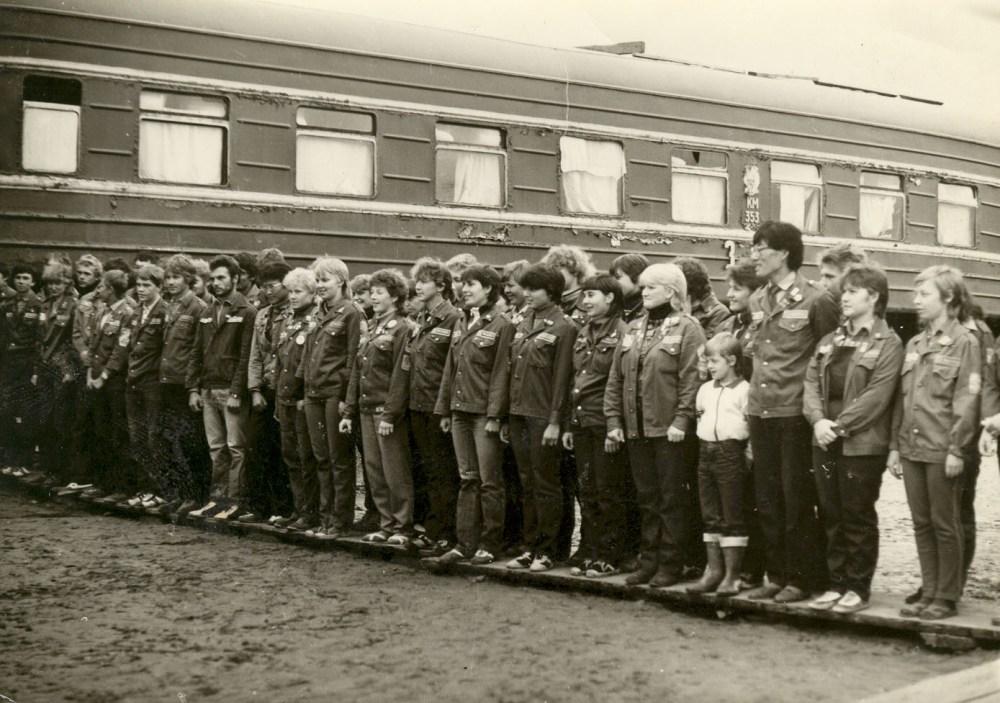 Студенческий отряд «Голубая стрела» перед началом трудового семестра.